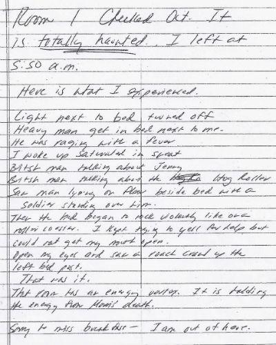Letter from Guest at the Robert Morris Inn