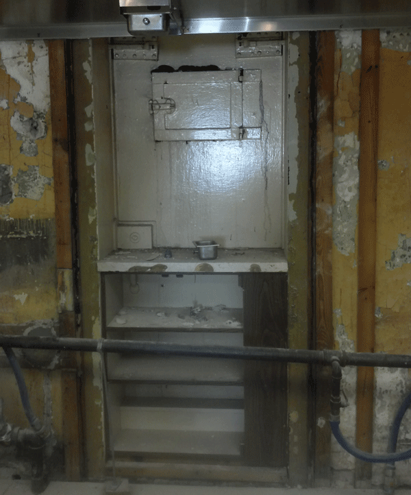 The original door of the jail cell where the handprint was